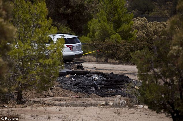 What remained: Firefighters found the bodies of Christina and Ethan Anderson covered with tarp, showing that they were killed before the fire that burnt down Jim DiMaggio's Boulevard cabin (pictured)