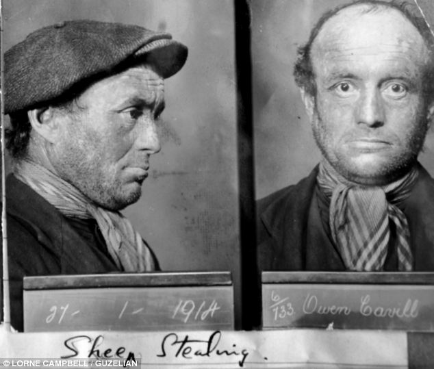 Previously unseen: The exhibition includes some of the earliest mugshots taken of petty thieves including this one of Owen Cavill who was arrested for sheep stealing