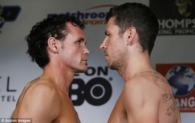 Head to head: Daniel Geale and Darren Barker at the weigh-in at Atlantic City on Friday
