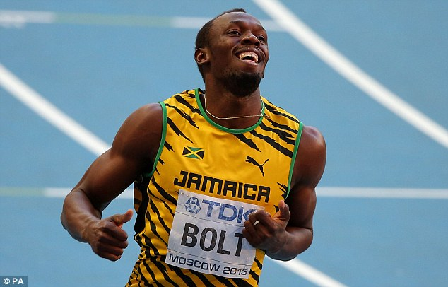 Easy does it: Bolt looks relaxed as he crosses the line