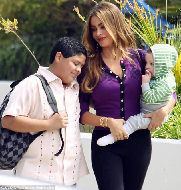 Maternal instinct: Sofia has clearly developed a close bond with the child who will be playing her son