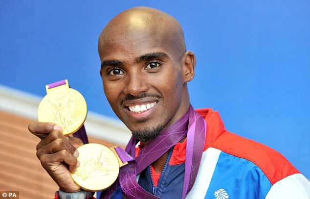 Memories: Mo Farah poses with his two gold medals from the London 2012 Olympics