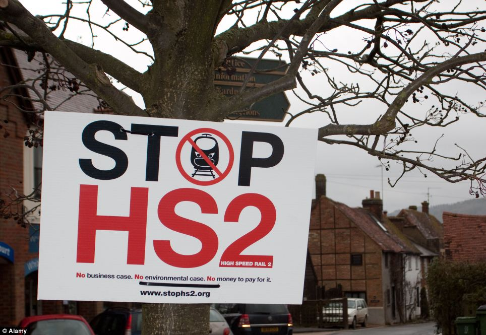 Controversial: Stop HS2 protest signs in Wendover, Buckinghamshire where locals are concerned over the impact the link will have on their countryside