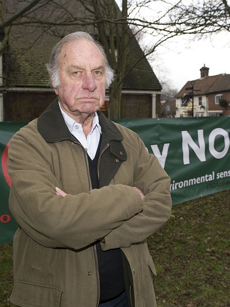 Actor Geoffrey Palmer has thrown his weight behind the no campaign, pictured at a protest in Gt. Missenden, Bucks, which is in the path of the proposed route for the HS2 rail line