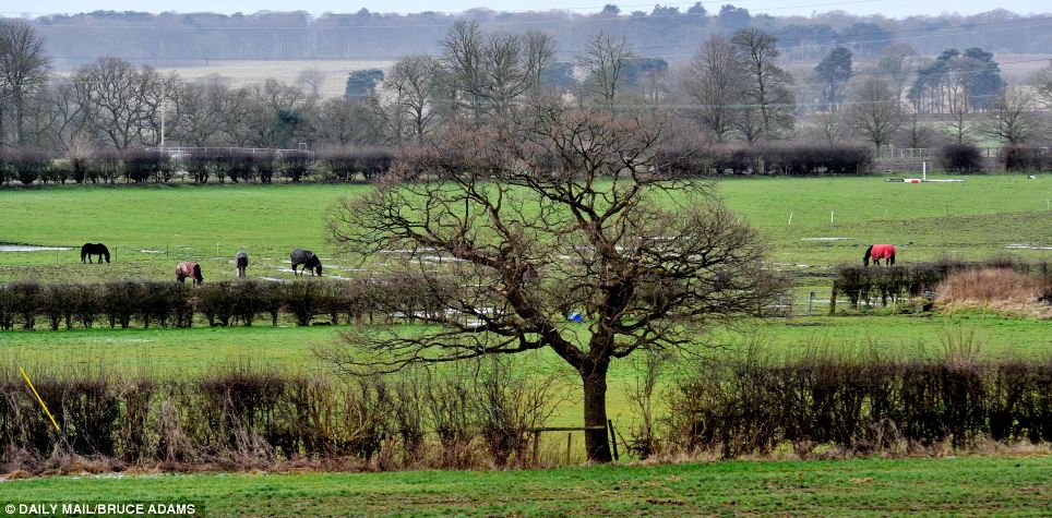 Countryside at Ashley village,Cheshire, where the proposed route will go past, scenic views across the Cheshire countryside threatened by the proposed HS2 link between London and Manchester