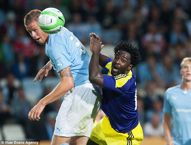 Battering ram: Wilfried Bony has already made his mark on Malmo's Pontus Jansson