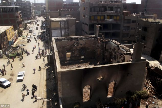 Attack: In the province of Minya south of Cairo, protesters attacked two Christian churches, security officials said