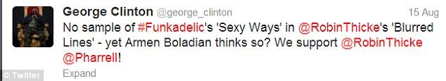 Funky tweet: George Clinton tweeted that Blurred Lines doesn't sample Sexy Ways