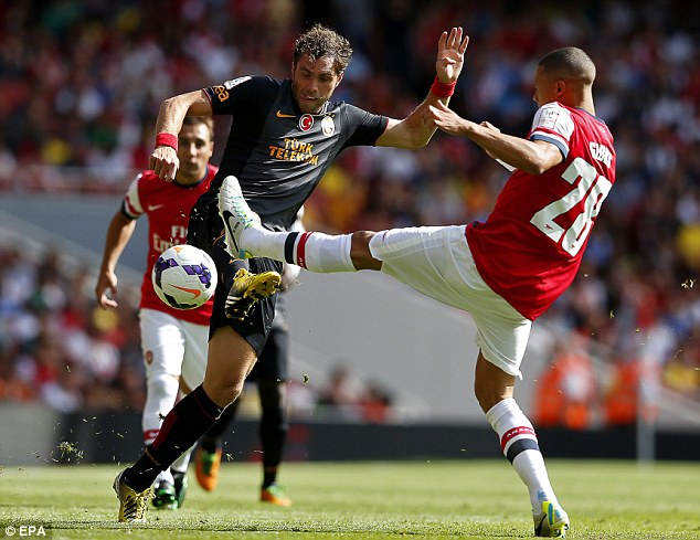 Premier League experience: Galatasaray's Johan Elmander played against Arsenal in the Emirates Cup