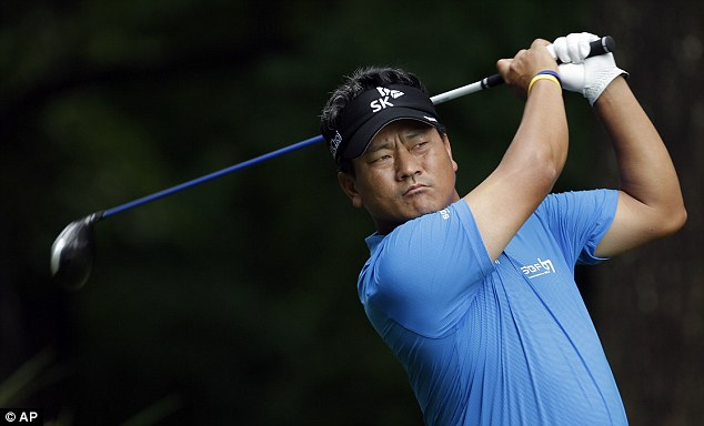 Big hitting: K.J. Choi hammers a ball down the fairway during the final round