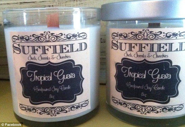 Selling out: Danielle's mother's small online business, Suffield Sundries, sells artisan candles and soaps and is hosted on the e-commerce crafts site, Etsy