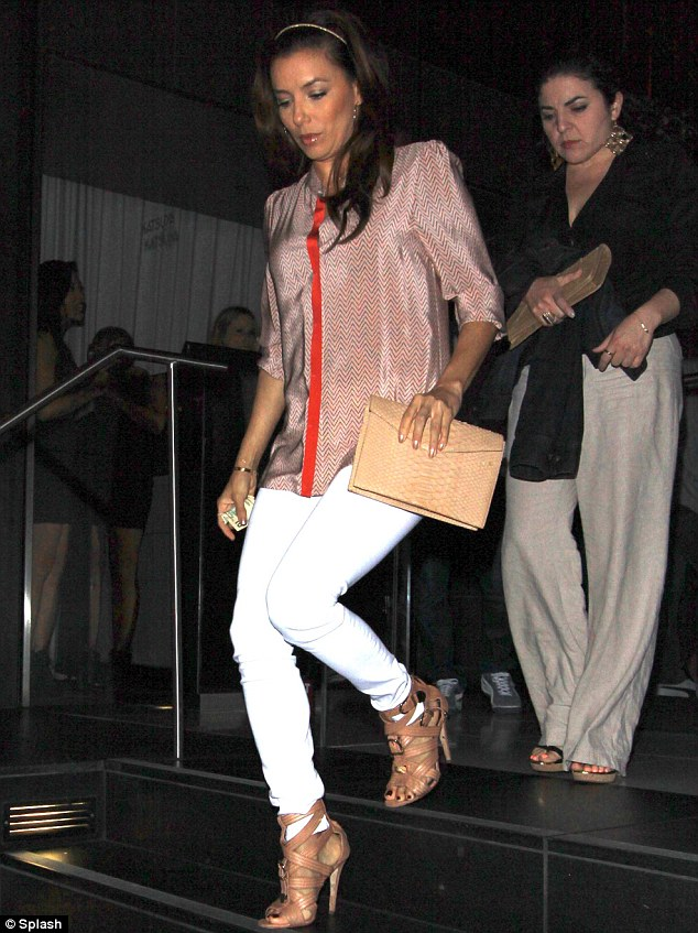 Night out: Eva was seen leaving Hollywood hot spot Katsuya on Saturday. Earlier in the day, the Desperate Housewife went to her goddaughter's birthday party