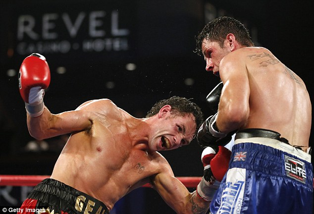 Take that: Barker strikes Geale in the 12th as he closes in on his victory
