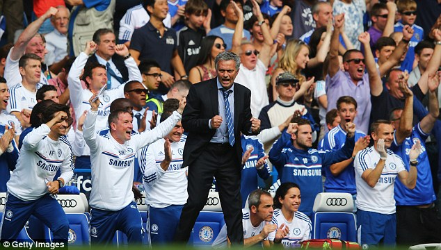 Time to celebrate: Mourinho's second spell in charge at Chelsea began with a win