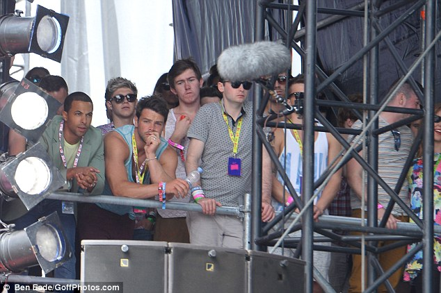 Male heavy: A number of men also gathered around to see The Saturdays show off their singing and dancing skills