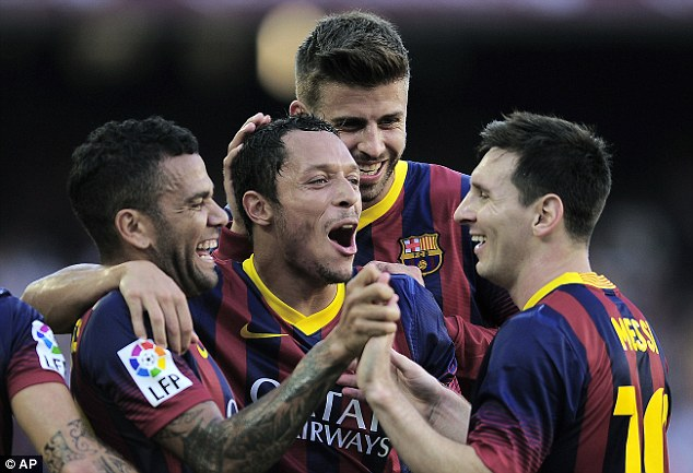 Running riot: Lionel Messi and Co were lethal in the first match of the La Liga season, scoring six first half goals