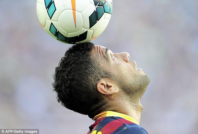 Skills: Alves shows off his balancing act