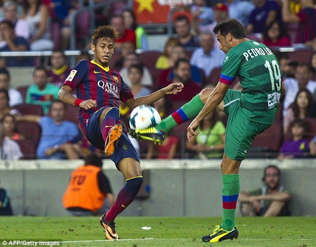 In action: Neymar wasn't able to get on the score sheet