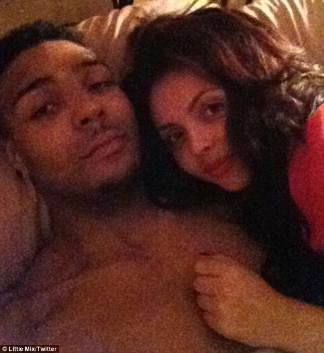 Looking cosy: Jesy Nelson and her ex boyfriend, Diversity's Jordan Banjo cuddled up for a photo in bed when they were going out in May