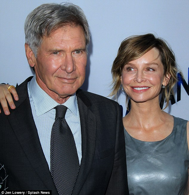 Still hope: The actor, seen here with wife Calista Flockhart, need not worry too much however, as he has recently signed to appear in Expendables 3, replacing Bruce Willis