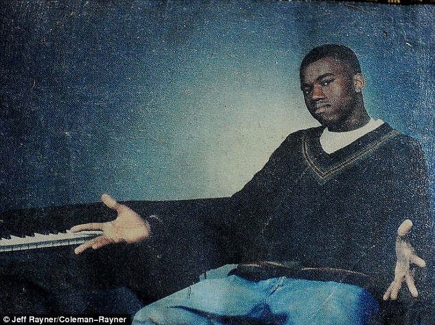 'He was going to be best rapper in the whole world': The 21-time Grammy winner strikes a pose next to a keyboard while clad in a V-neck jumper in this early '90s snap