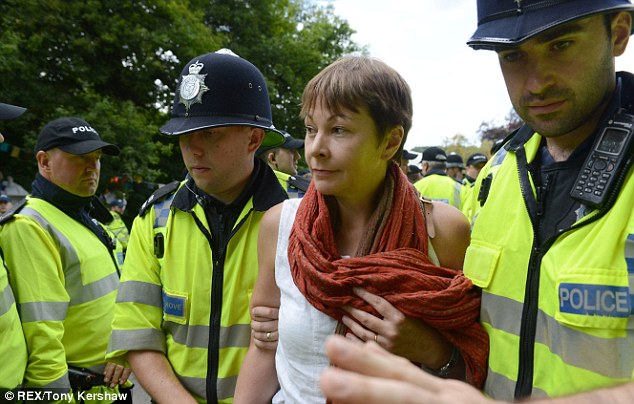 Green Party MP Caroline Lucas was arrested today at the anti-fracking protest in Balcombe, West Sussex