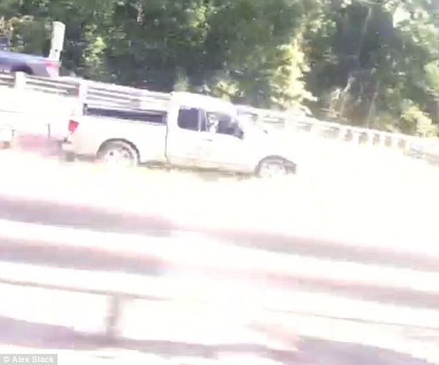 Pictured: When a truck veered off a Michigan highway Friday, Vine user Alex Stack began taking video