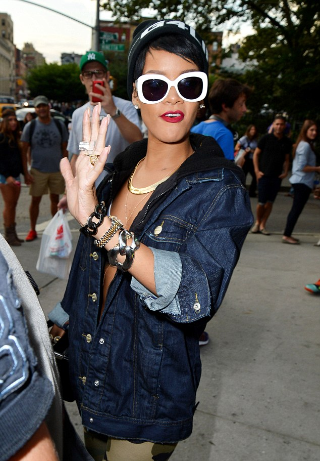 Posing: Rihanna stuck some different stances for her fans