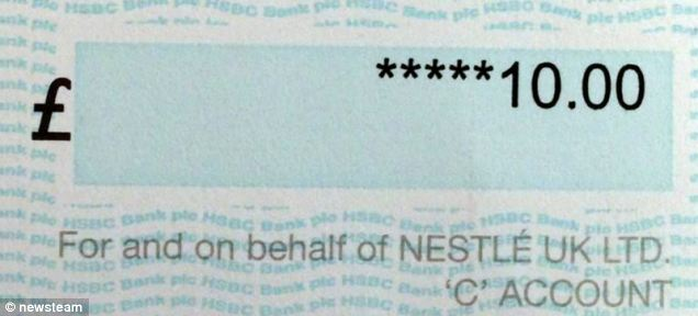 Minted: The £10 prize cheque that Mr Barnard received from Nestle last week for finding the rare green Polo in 1996