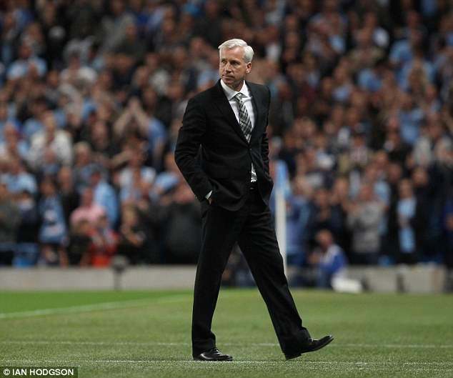 Weakened: Alan Pardew lost Jonas Gutierrez to injury and Steven Taylor to suspension in the defeat to Manchester City