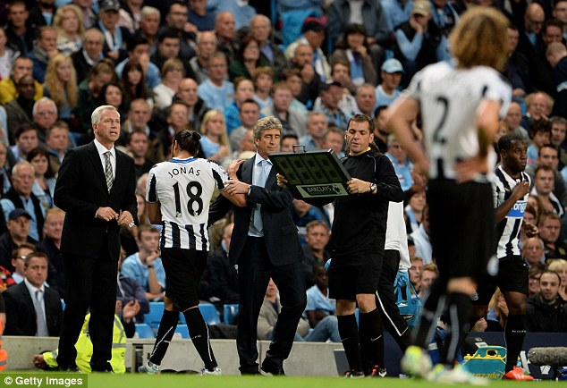 Losses: Jonas Gutierrez limped off with a hamstring injury against Manchester City