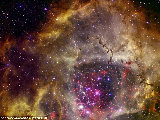 Astronomers used several telescopes to observe the Rosette Nebula