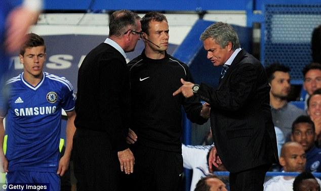 Over the top: Villa boss Lambert was unhappy with Branislav Ivanovic's challenge on Christian Benteke