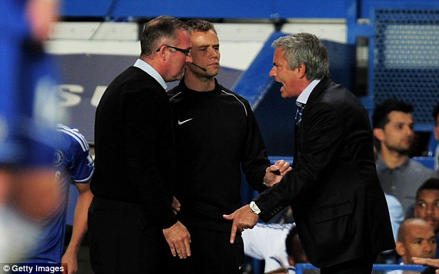 Tempers: Jose Mourinho and Paul Lambert had a shouting match on the touchline at Stamford Bridge