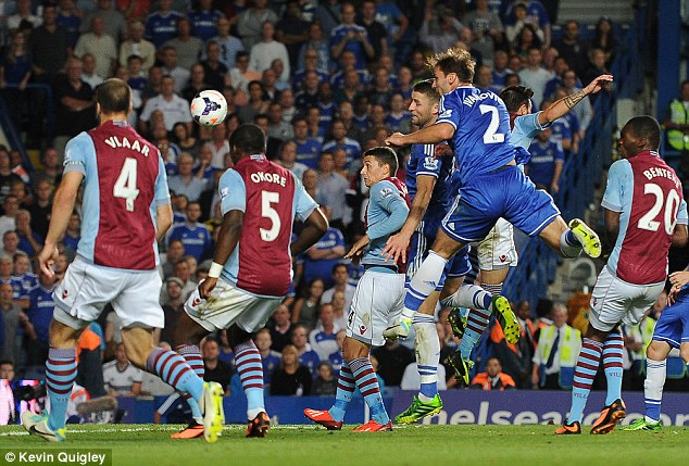 Booming: Ivanovic's header settled the game from a Frank Lampard free-kick