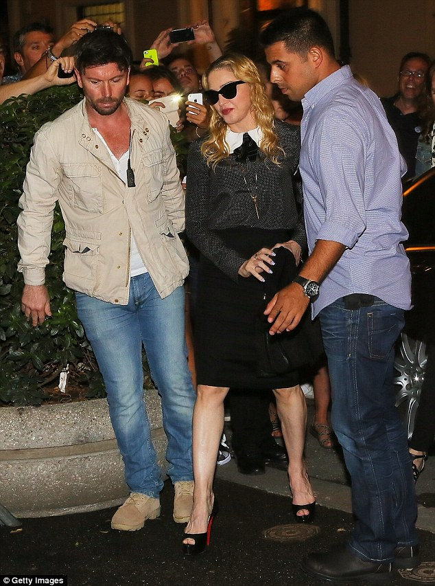 Looking good: Madonna ditched her workout gear in favour of this more stylish outfit