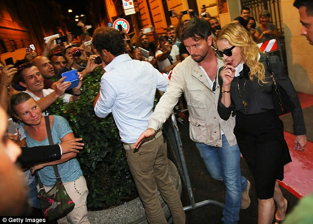Happy to see you! Her Italian fans seemed pleased to see the superstar