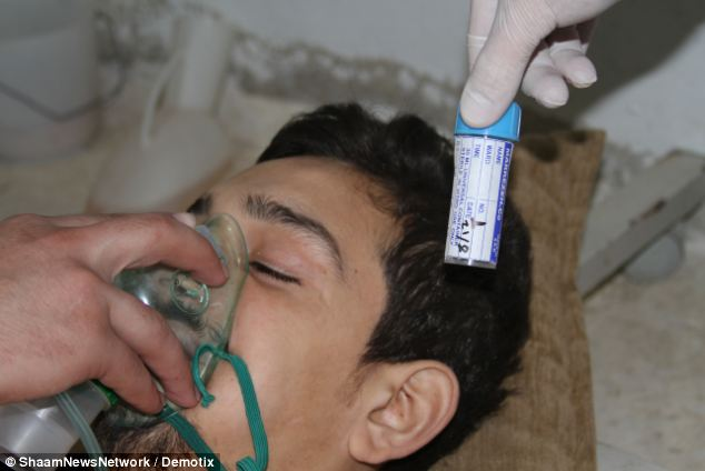A man is treated in hospital for the effects of chemical poisoning after the suspected Sarin attack