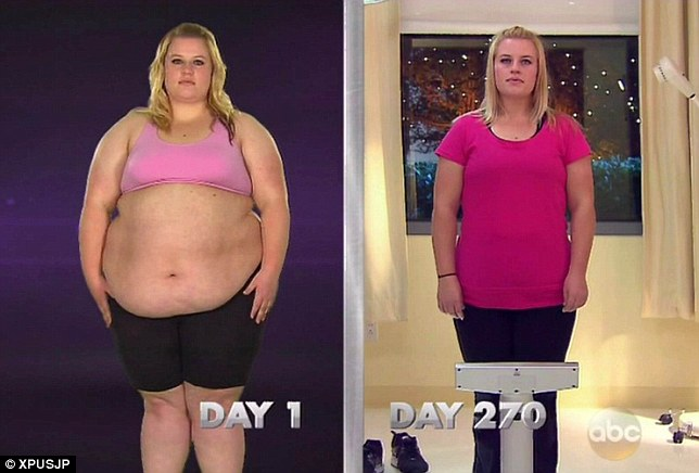 Ashley Hylton, 26, lost a total of 11.7 stone, dropping from 325lbs, over 23 stone to a svelte 11.4 stone in a year on the TV show Extreme makeover: Weightloss