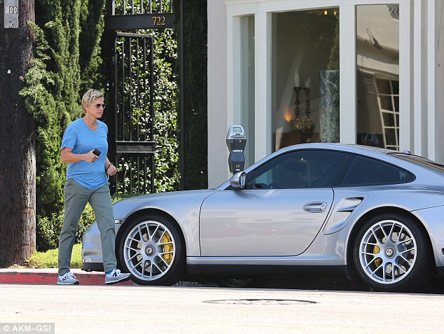 Hot wheels: Ellen was seen alone whilst out and about