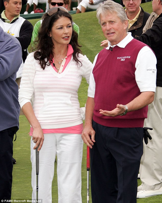 Keen hobby: Michael and Catherine taking part in the Ninth Annual Michael Douglas and Friends Celebrity Golf Event at the Trump National Golf Club in 2007