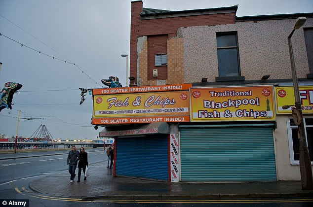 A fish and chip shop in Blackpool which has the highest level of deprivation than any other coastal town
