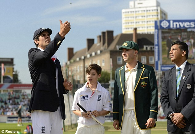 Good call: Australia captain Michael Clarke (second right) won the toss and elected to bat at The Kia Oval