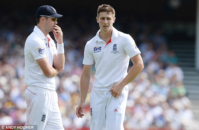 Unsettled: Chris Woakes (right) also received some tap on his Test debut