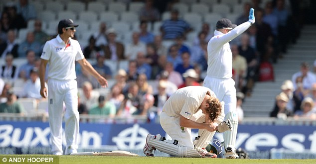 Hurt: Watson goes down after being hit on the head by Broad