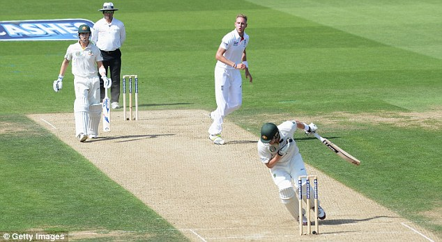 Shane Watson of Australia is struck by a delivery from Stuart Broad