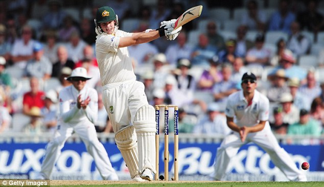 Route 66: Steve Smith pulls the ball on the way to making an unbeaten 66 on day one