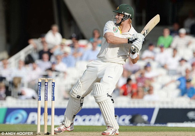 Finding the man: Watson looks on as his pull shot goes in the vicinity of Kevin Pietersen, who takes the catch