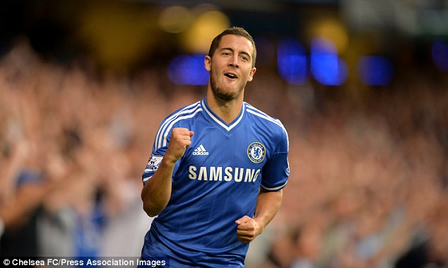 On target: Chelsea winger Eden Hazard had the shot which led to their first goal