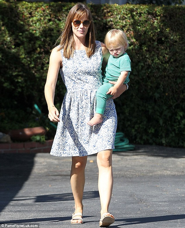 Mother and son time: Jennifer Garner enjoys some one to one time with son Samuel on Wednesday in Los Angeles